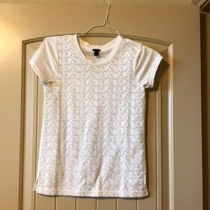 J crew lace short sleeve t shirt size xxs